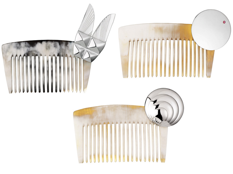 Natural Horn combs, Sterling Silver or Gold ornaments with or without precious stones
